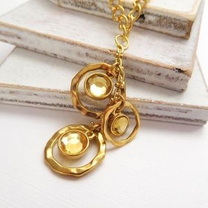 Jewelry - Hammered Gold Crystal Charm Pendant Necklace